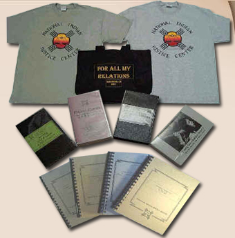 Photo of NIJC merchandise: t-shirts, books, tote bag